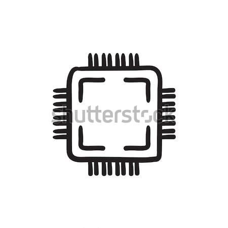 Cpu schets icon vector geïsoleerd Stockfoto © RAStudio