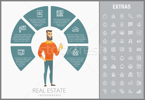 Stock photo: Real estate infographic template, elements, icons.