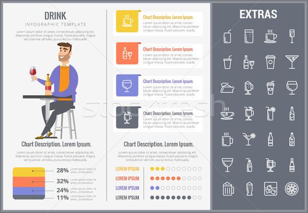 Ital infografika sablon elemek ikonok testreszabható Stock fotó © RAStudio