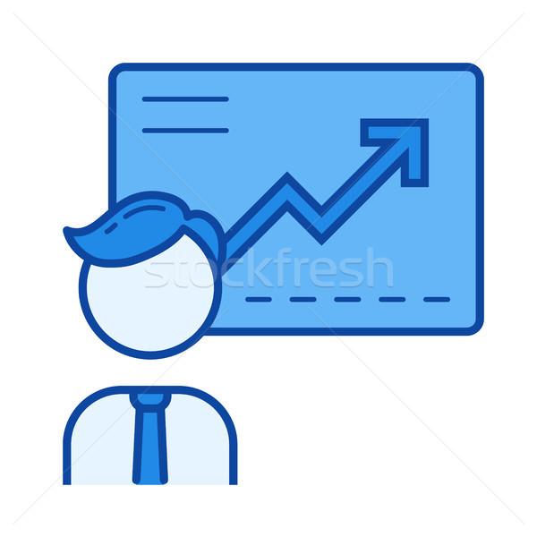 Business conferentie lijn icon vector geïsoleerd Stockfoto © RAStudio