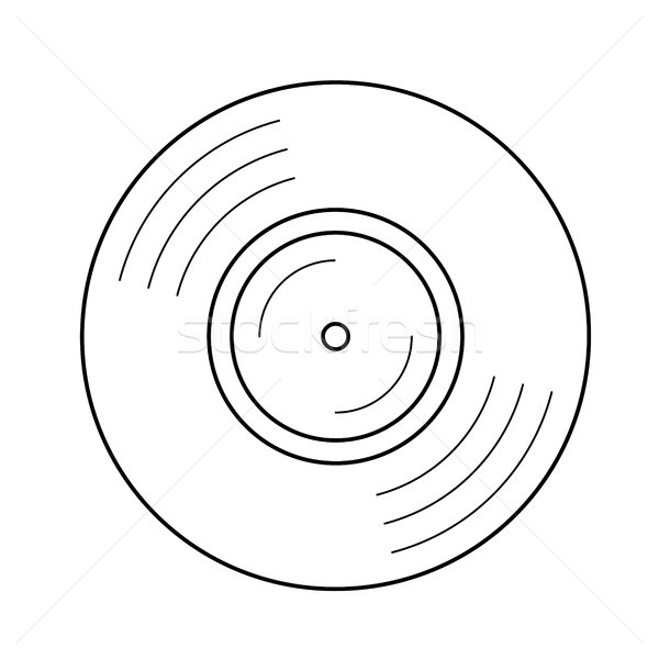 Stock photo: Vinyl disk line icon.