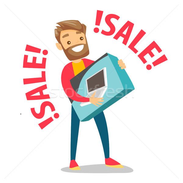Młodych biały człowiek zakupy sprzedaży zakupu Zdjęcia stock © RAStudio