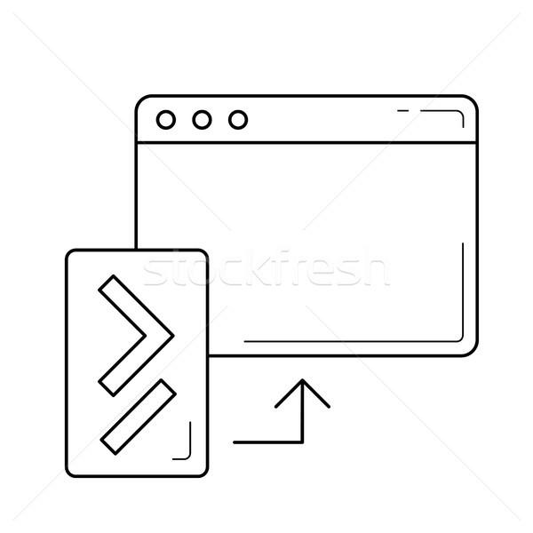Kodu aktualizacja line ikona wektora odizolowany Zdjęcia stock © RAStudio