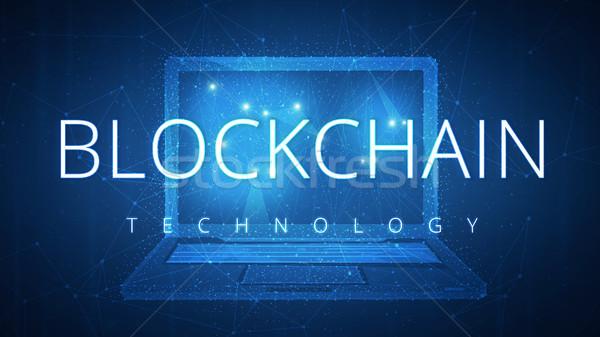 Blockchain technology hud banner with laptop. Stock photo © RAStudio