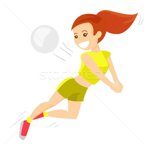 白人 白 スポーツウーマン 演奏 バレーボール 女性 ストックフォト © RAStudio