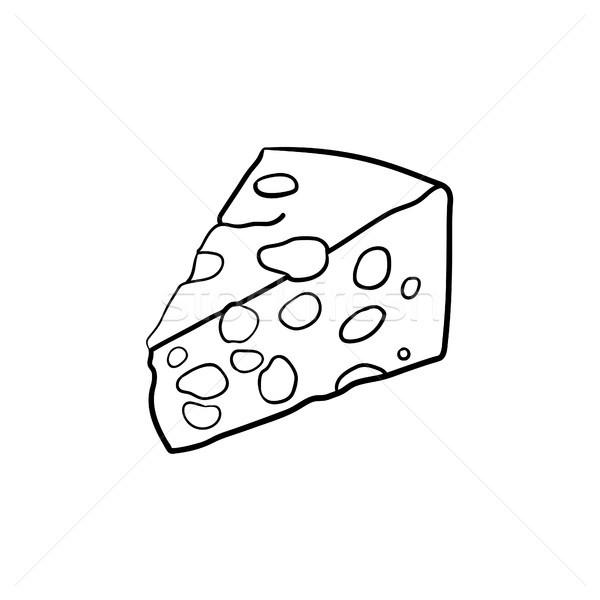 Portion of cheese hand drawn sketch icon. Stock photo © RAStudio