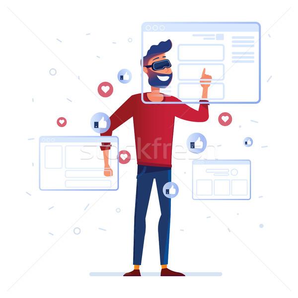 A man in vr headset analyzing virtual data Stock photo © RAStudio