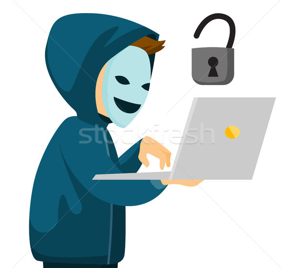 A hacker holding a laptop. Stock photo © RAStudio