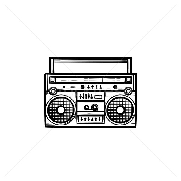 Tape recorder with radio hand drawn outline doodle icon. Stock photo © RAStudio