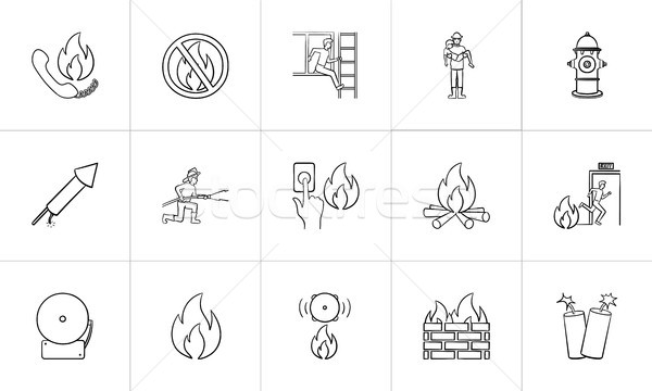 Fire hand drawn sketch icon set. Stock photo © RAStudio
