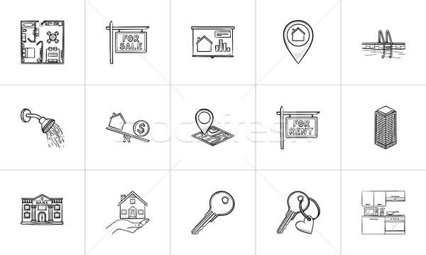 Photo stock: Immobilier · dessinés · à · la · main · doodle · imprimer