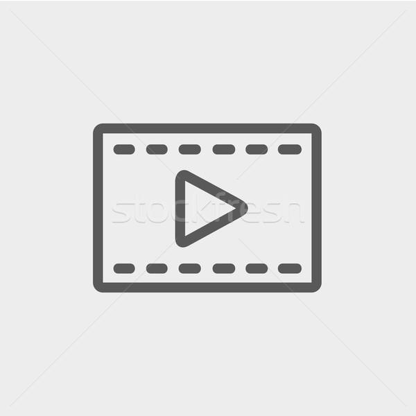 кинопленка стрелка тонкий линия икона веб Сток-фото © RAStudio