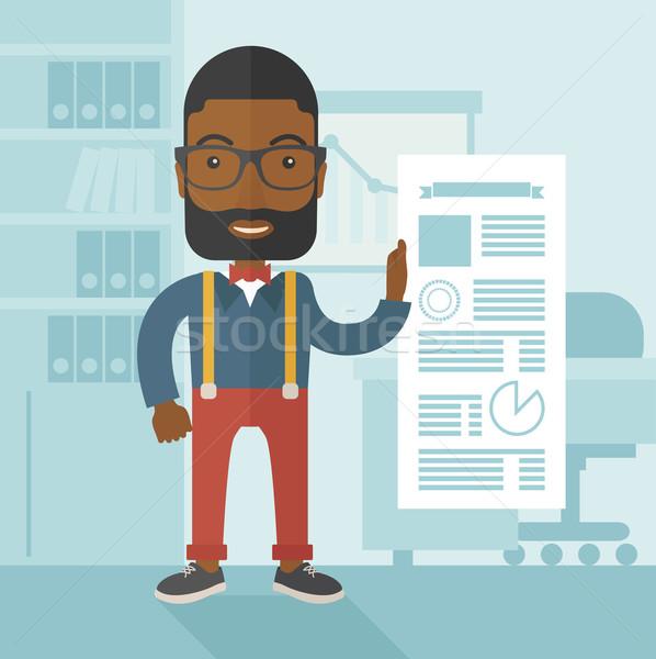 Siyah adam mutlu ayakta içinde ofis Stok fotoğraf © RAStudio