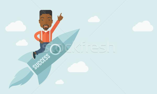 Afroamerikai férfi kezdet felfelé üzlet szakáll repülés Stock fotó © RAStudio