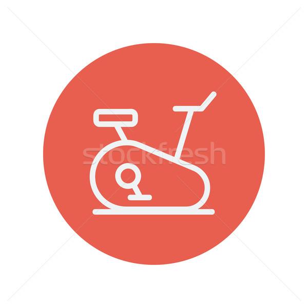 Uygunluk bisiklete binme ince hat ikon web Stok fotoğraf © RAStudio