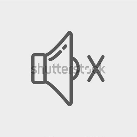 Kısmak konuşmacı ince hat ikon web Stok fotoğraf © RAStudio