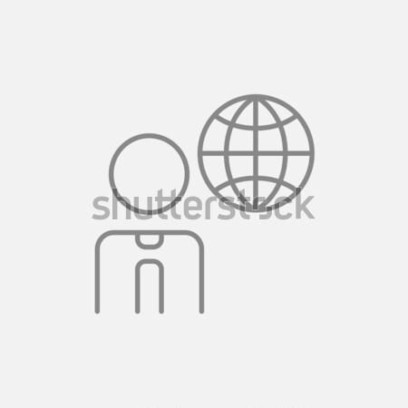 Businessman with global drawn in chalk Stock photo © RAStudio