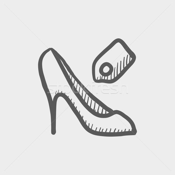 Scarpa tag sketch icona web mobile Foto d'archivio © RAStudio