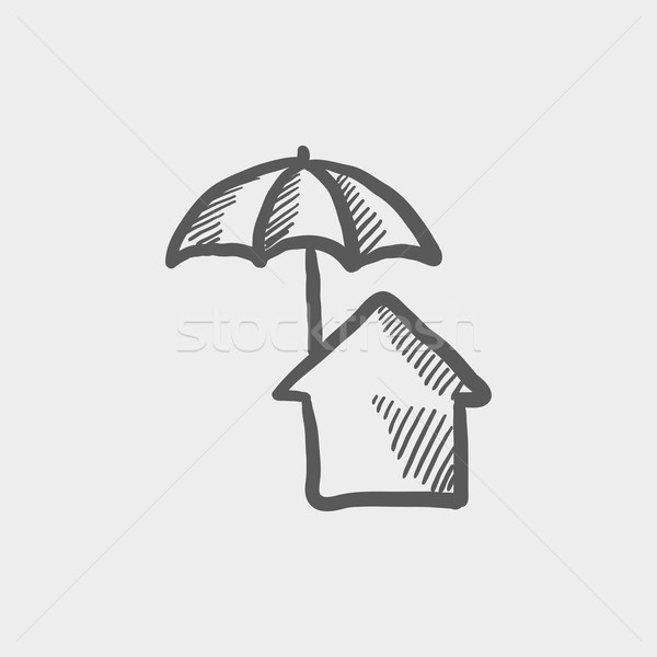 Stock photo: House insurance sketch icon