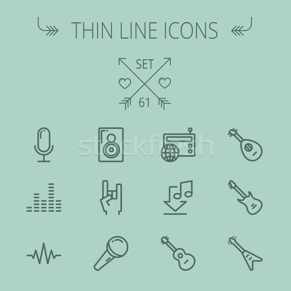 Music and entertainment thin line icon set Stock photo © RAStudio