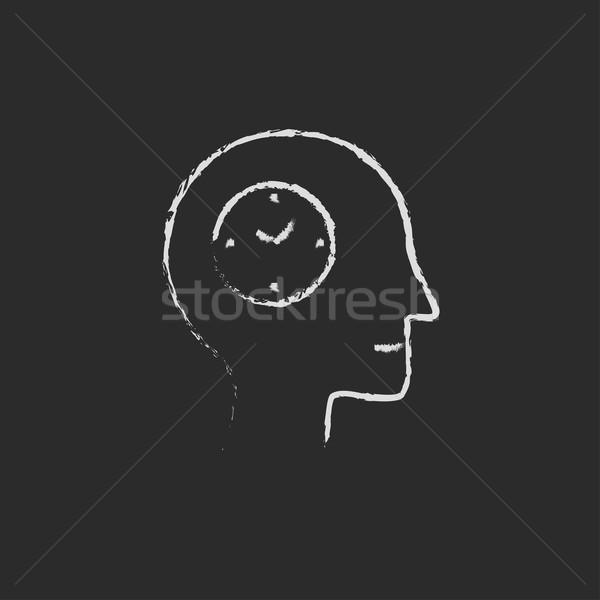 Zegar ludzi głowie ikona kredy Zdjęcia stock © RAStudio