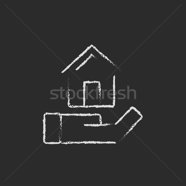 House insurance icon drawn in chalk. Stock photo © RAStudio