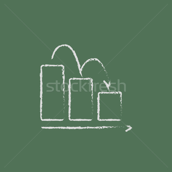 çubuk grafik aşağı ikon tebeşir Stok fotoğraf © RAStudio