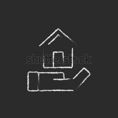 House insurance icon drawn in chalk. Stock photo © RAStudio