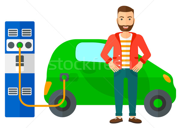 Elektrische auto man baard vector ontwerp Stockfoto © RAStudio