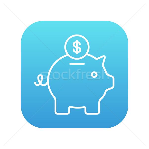 Piggy bank with dollar coin line icon. Stock photo © RAStudio