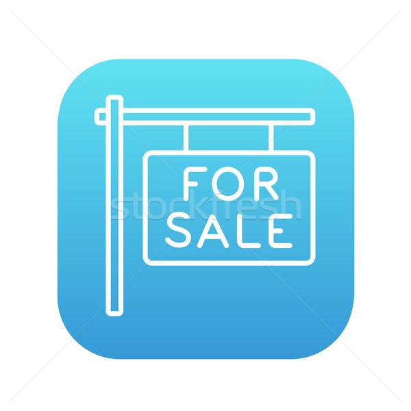 For sale placard line icon. Stock photo © RAStudio