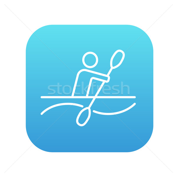 Uomo kayak line icona web mobile Foto d'archivio © RAStudio