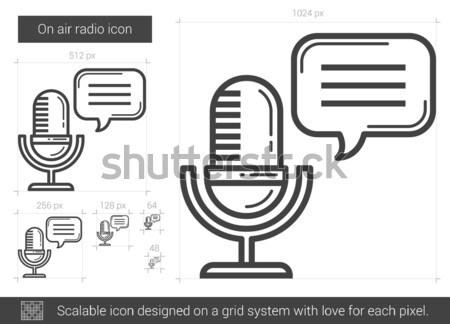 Microphone with speech square line icon. Stock photo © RAStudio