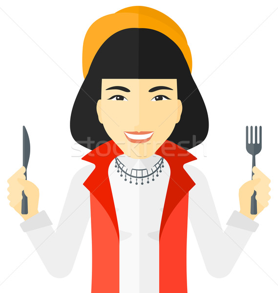 Hungry woman waiting for food. Stock photo © RAStudio