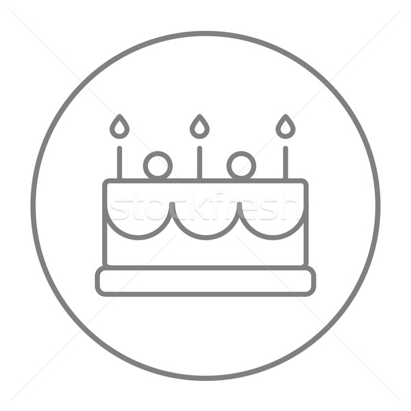 Birthday cake with candles line icon. Stock photo © RAStudio