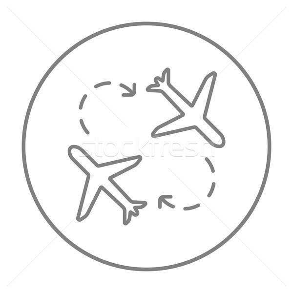 Stockfoto: Vliegtuigen · lijn · icon · web · mobiele · infographics