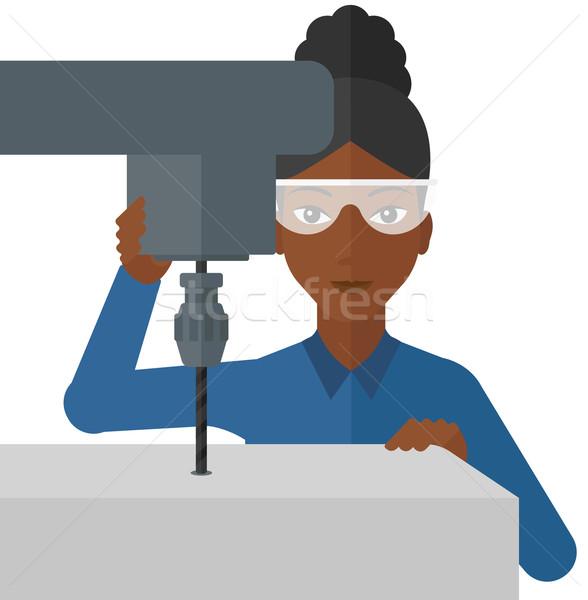 Mulher trabalhando chato moinho perfuração máquina Foto stock © RAStudio