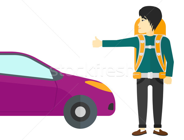 Jonge man asian reiziger stoppen auto vector Stockfoto © RAStudio