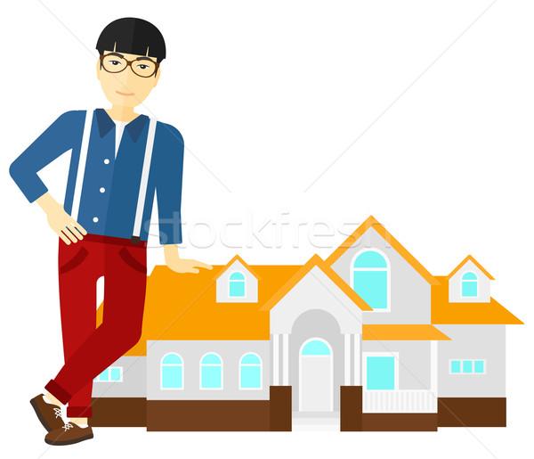 Makelaar aanbieden huis asian permanente vector Stockfoto © RAStudio