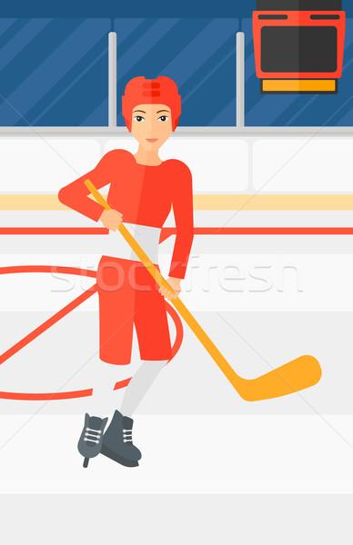 Jugador palo mujer patinaje hielo Foto stock © RAStudio