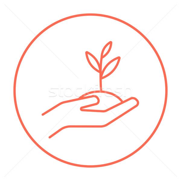 手 苗 土壌 行 アイコン ストックフォト © RAStudio