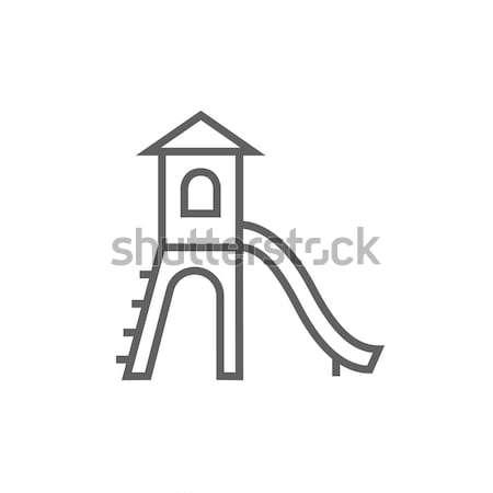 Speeltuin slide lijn icon hoeken web Stockfoto © RAStudio