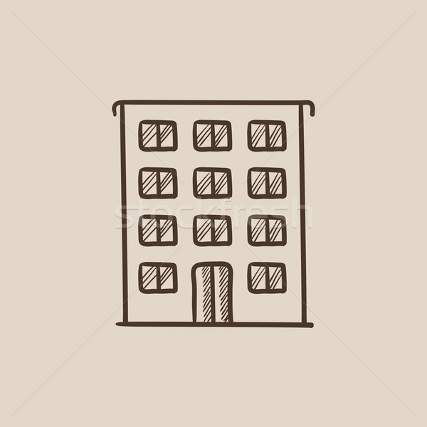 Residential building sketch icon. Stock photo © RAStudio