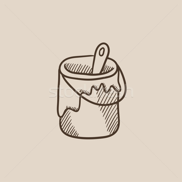 Paint brush in the paint tin sketch icon. Stock photo © RAStudio