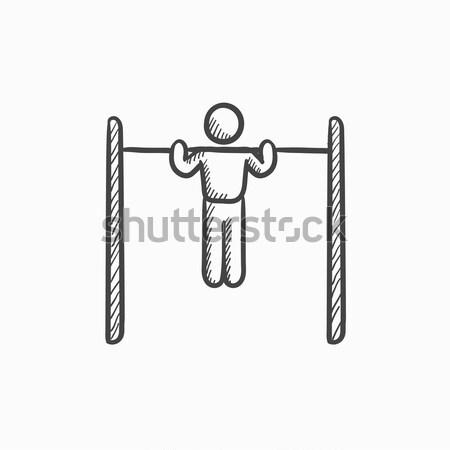 Tornász testmozgás bár rajz ikon háló Stock fotó © RAStudio