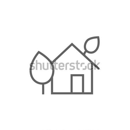 дома линия икона уголки веб мобильных Сток-фото © RAStudio