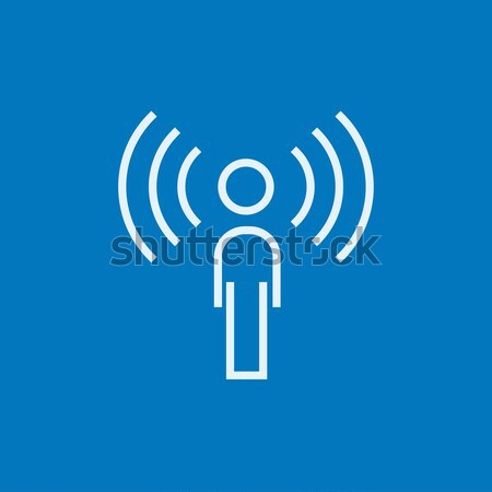 Man with soundwaves line icon. Stock photo © RAStudio