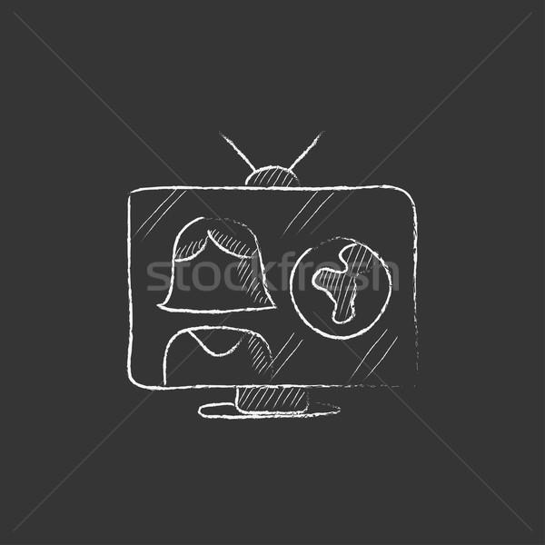 Tv verslag krijt icon Stockfoto © RAStudio