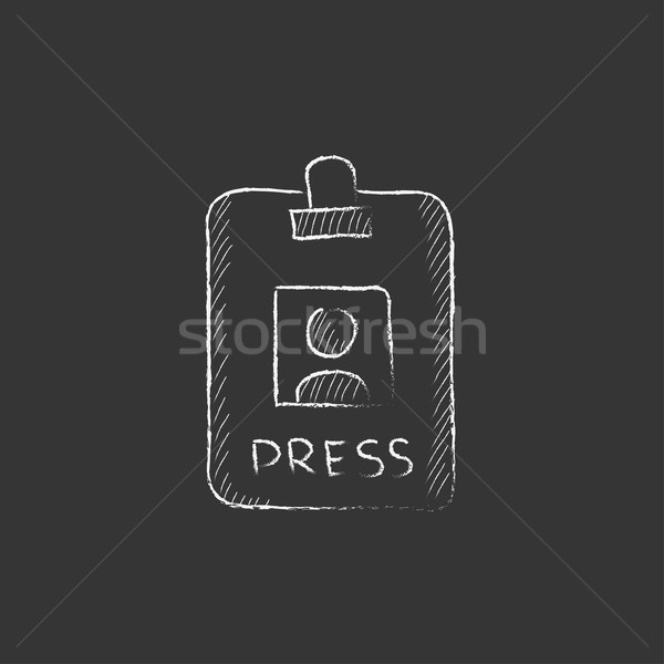 Press pass ID card. Drawn in chalk icon. Stock photo © RAStudio