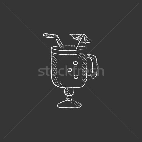 Verre potable paille parapluie craie Photo stock © RAStudio